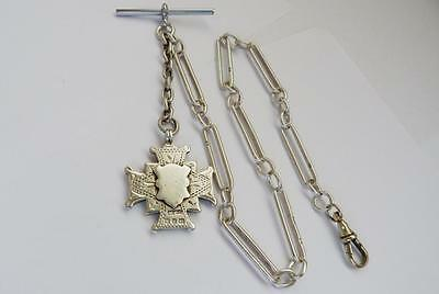 1899 - VICTORIAN - HEAVY - SOLID SILVER - WATCH CHAIN & FOB - 41.4 grams