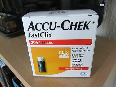 Accu- Chek Fastclix 204 Lancets Long Expiry 11/2020 NEW and Sealed