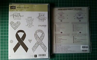 Stampin Up Ribbon of Courage Stamp Set & Support Ribbon Framelits Dies New