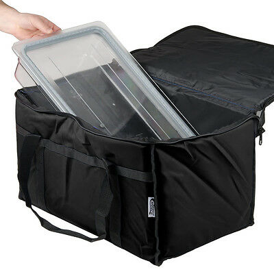 "Insulated BLACK 23"" x 13"" x 15"" Nylon Hot Cold Food Carrier Bag"
