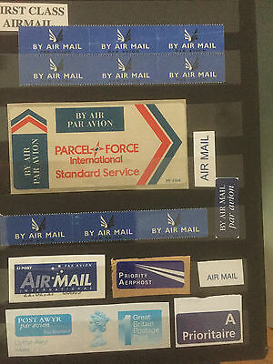 31 Postal Airmail / Airpost Stickers / Labels Worldwide Nice Collection