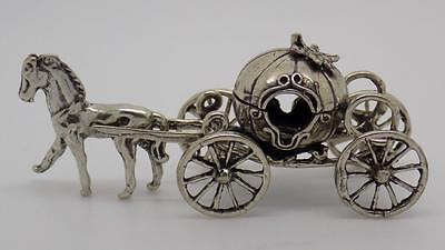 23g Vintage Solid Silver Cinderella Carriage Miniature - Stamped - made in italy
