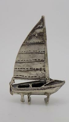 Vintage Solid Silver Dollhouse Sailing Ship Miniature - Stamped - Italian Made