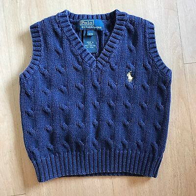 Boy's Baby Polo By Ralph Lauren Navy Sweater Vest Cable Knit Size 12M