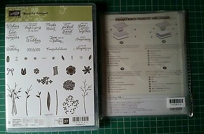 Stampin Up Beautiful Bouquet Stamp Set and matching Bouquet Bunch Framelits Dies
