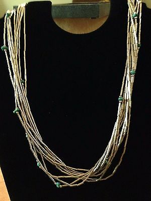 Vintage Native American Ten Strand Liquid Silver & Turquoise Necklace & earrings