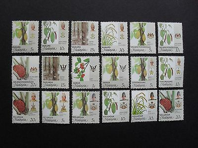 Malaysian States 1986. Local Plants - Selection of Eighteen Stamps. Mint/MNH.
