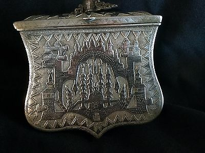Antique  Silver  Niello Turkish Ottoman Cartidge Box Very Unique & Rare
