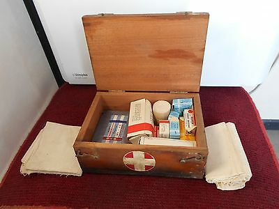 Vintage wooden first aid kit