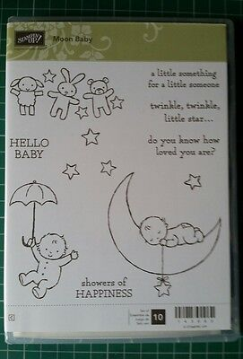 Stampin Up Moon Baby 10 Piece Clear Mounted Rubber Stamp Set. New