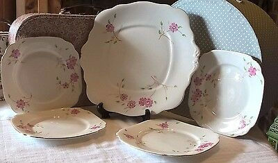 Bell China England Hand Painted Vintage China Cake Plate And 4 Tea Plates