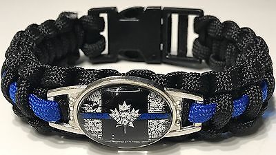 Thin Blue Line Tattered Canada Flag Paracord Bracelet POLICE MORALE
