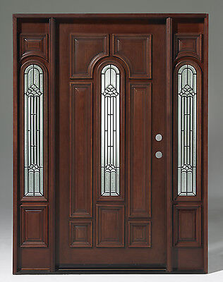 SALE! Solid Wood Mahogany Pre-hung& Finished 1door w/ 2 SL TMH7525-GL02