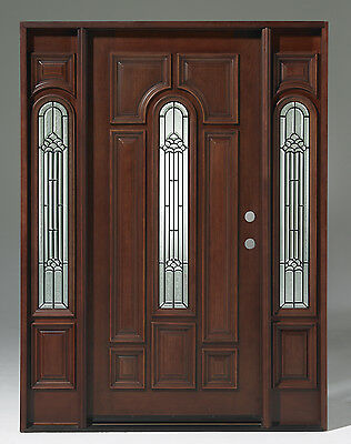 Summer SALE! Solid Wood Mahogany Pre-hung& Finished TMH7525-GL02
