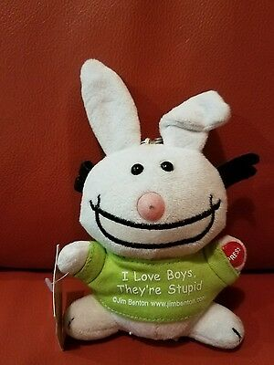 happy bunny plush keychain voice new WT