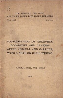 Consolidation of Trenches Localities & Craters Booklet World War I British Army