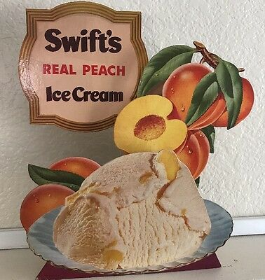 VTG ORIGINAL SWIFT'S ICE CREAM RARE 3-D Cardboard Advertising Sign Store Display