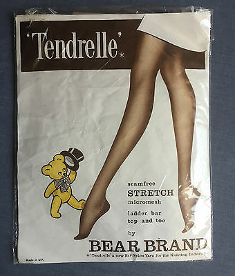 "Vintage Bear Brand Tendrelle RHT Nylon Stockings Size 8½""-9"" Sunshade"