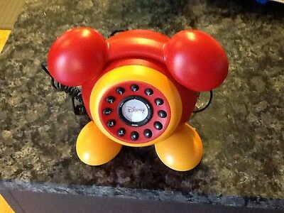 Mickey Mouse Telephone Disney Red Yellow ~RARE~W