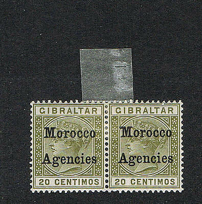 Morocco Agencies 1899 20c pair with variety