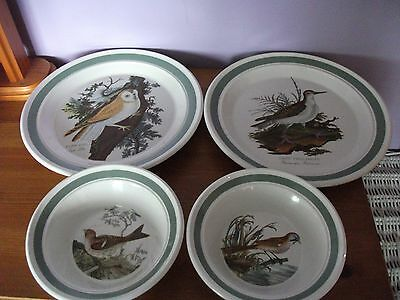 Portmeirion Birds Of Britain 2 Dinner Plates And 2 Oatmeal Bowls Lovely