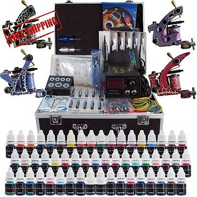 Solong Tattoo® Complete Tattoo Kit 4 Pro Machine Guns 54 Inks Power Supply Foot