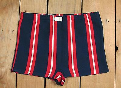 Vintage 1960s Mens Striped Swimsuit Red/White/&Blue Bathing Suit Surf Beach Mod