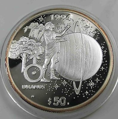 Marshall Islands 50 Dollars 1994 Uranus PP 999 Silber 1 OZ Unze [2942