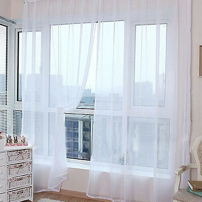 White Floral Tulle Voile Door Window Curtain Drape Panel Sheer Scarf Divider