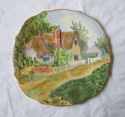 "Grimwades Rubian Art ""Olde England"" Cottage Plate, Hand Painted Embossed Shape"