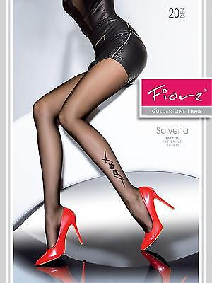 Salvena sheer tights Fiore SMALL size BLACK 20 den patterned pantyhose hosiery