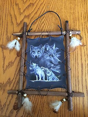 Wood Framed Wolf Picture