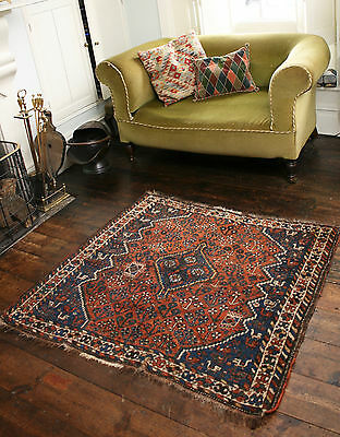 A Beautiful c19th Antique Persian Wool Carpet, Hand Knotted, Floral Decoration