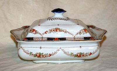 Lovely Corona Ware/S Hancock & Sons 'Alexandra' Lidded Tureen, Blue/Red Floral