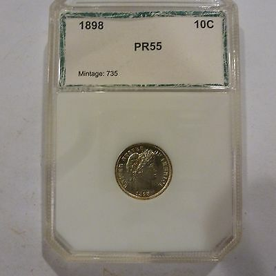 1898 Us Barber Dime Proof Pci  Mintage 735 Proofs