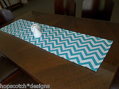 Hopscotch Table Runner -Indoor/outdoor -Turquoise And White Chevron / Zig Zag