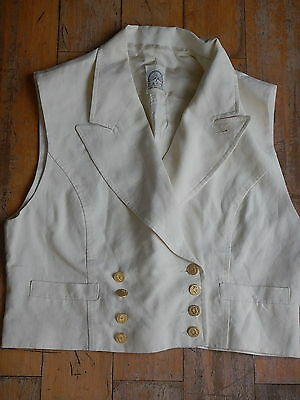 Pauw Womens Cream Ivory Linen Double Breasted Style Waistcoat Vest Size Small