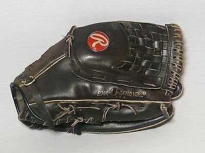 Vintage Rawlings RSGXLB 13 Inch Black Leather Softball Mitt Fastback Model Glove