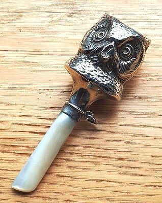 Vintage Silver & Mother of Pearl Owl Baby Teething Rattle 1933