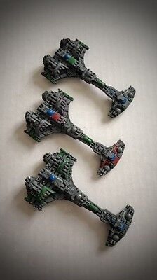 Battlefleet Gothic Tau painted Defender Class starships ( x 3)