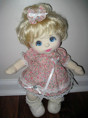 MY CHILD DOLL USA Blonde Top Knot Girl Blue Eyes Pink Makeup w Outfit Mattel EUC