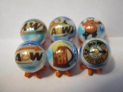 A & W ROOT BEER SODA POP MARBLES 5/8 SIZE collection lot WITH STANDS