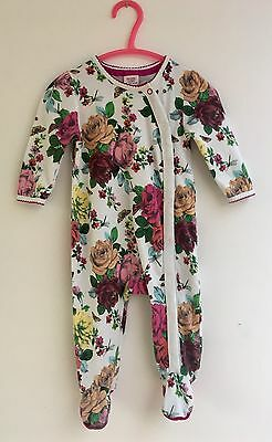 Ted Baker Baby Girl's Floral Babygrow Sleepsuit Size 3 - 6 Months