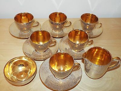6 Lovely Gold Lustre JERSEY POTTERY Coffee Cups & Saucers, Milk Jug & Sugar Bowl