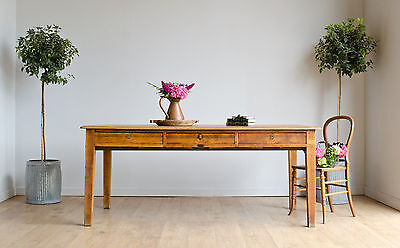 Rare Vickers-Armstrong Antique 1950s Oak Large Writing Desk Table with Drawers