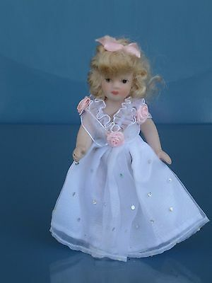 """Tiny Bisque Porcelain Doll  5""""- Jointed Arms & Legs - Wedding Dress"""