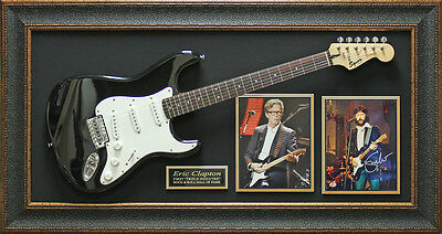 Eric Clapton Autographed Photo With Guitar Framed Display