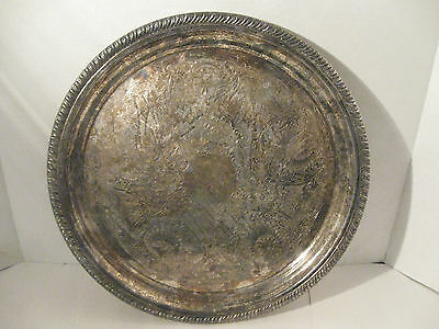 Antique ETON Silverplated Serving Tray 1960S round