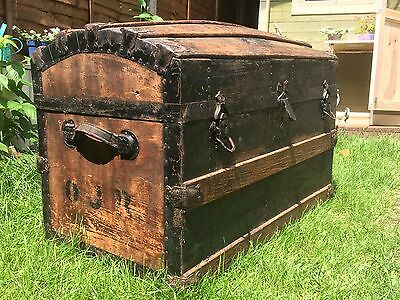Large antique wood trunk storage chest domed top with metal edge, leather handle