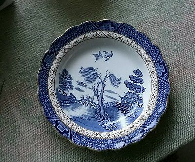 """Soup bowl plate  Booths Real Old Willow 8.5 """"Blue & White soup bowl plate  A8025"""
